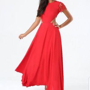 Red BEBE Lace Cutout Back Dress